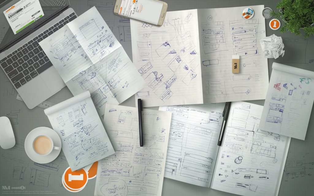 Tons and tons of my concept sketches and other doodles.