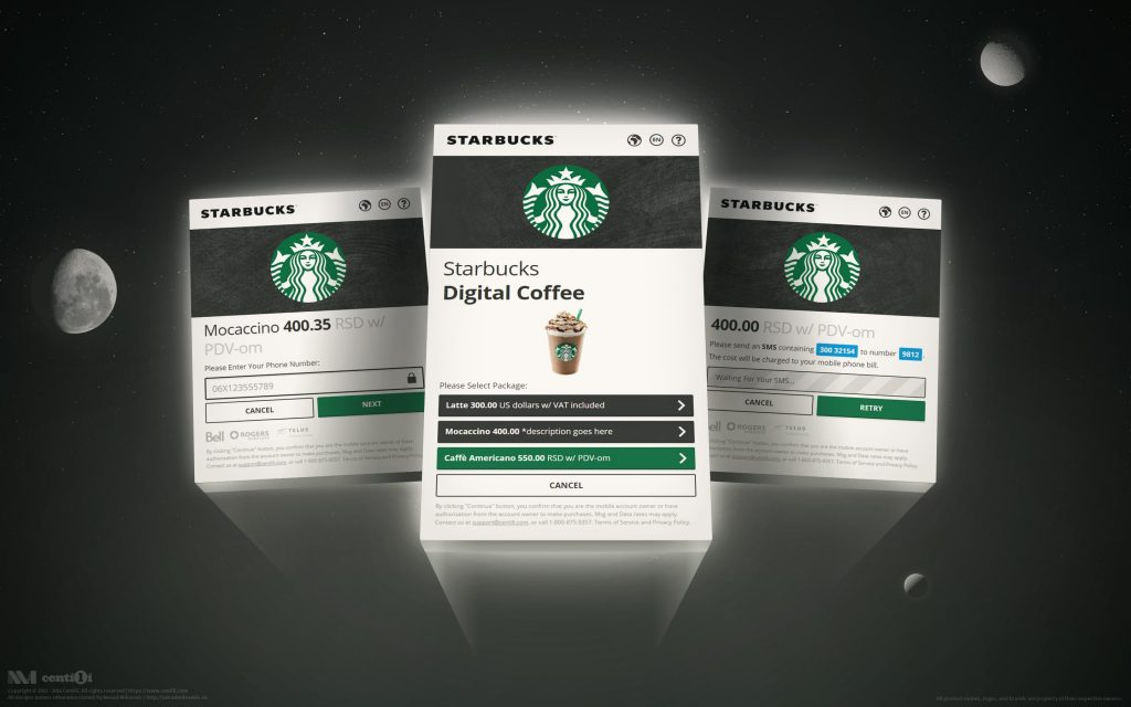 Payment Page rebranded as Starbucks.