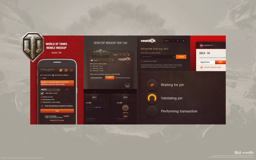 My mockups and final designs for World of Tanks rebranding of the Payment page.