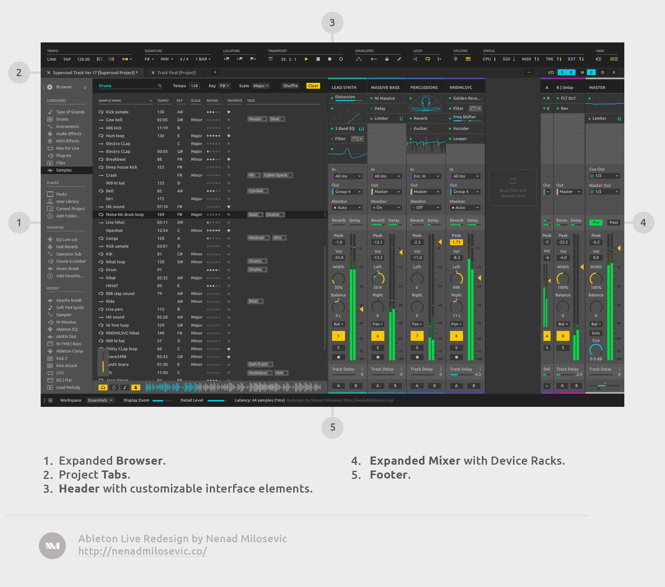 Expanded Browser and Expanded Mixer screen.