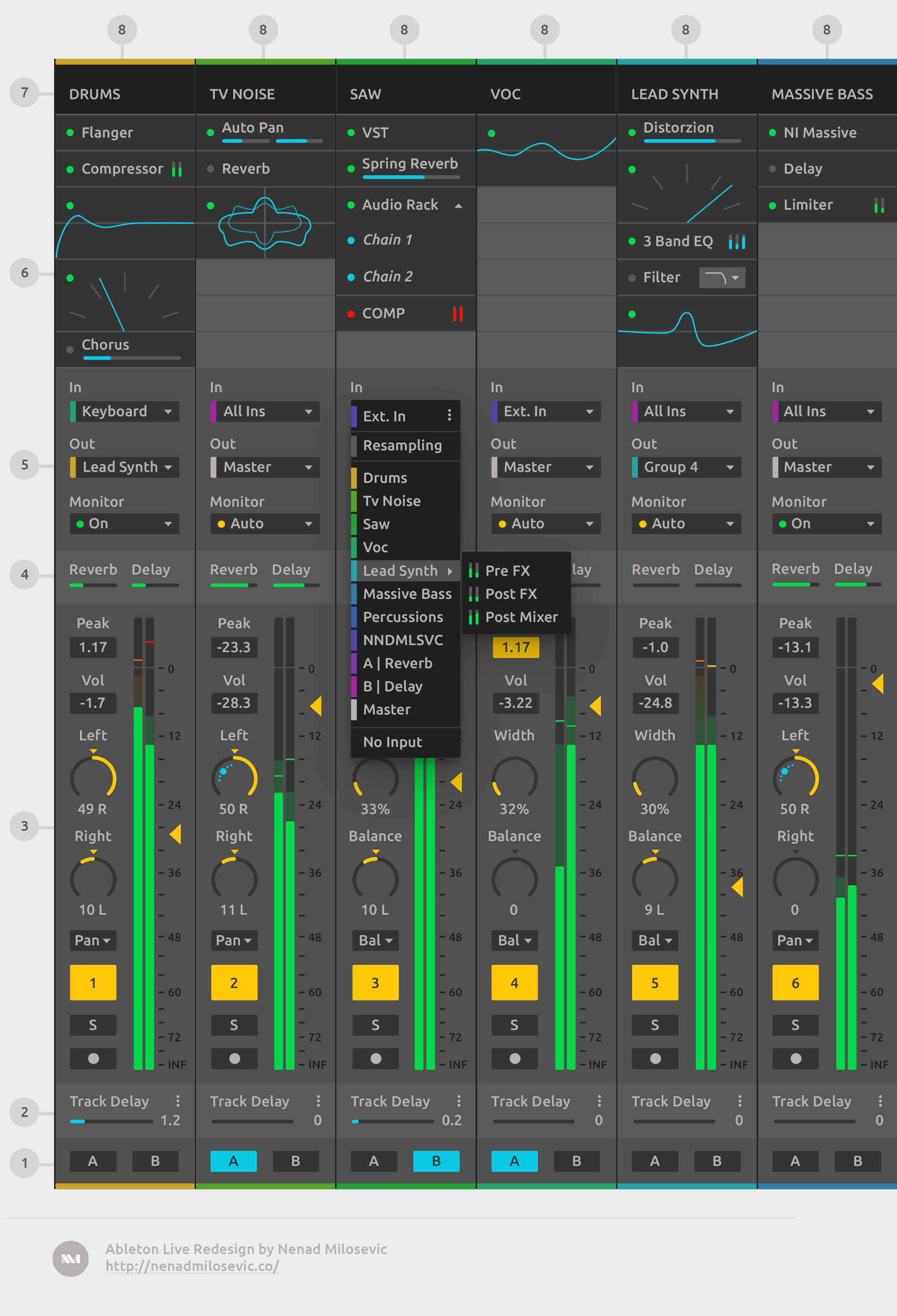 Expanded Mixer with Input (right-click) dropdown.