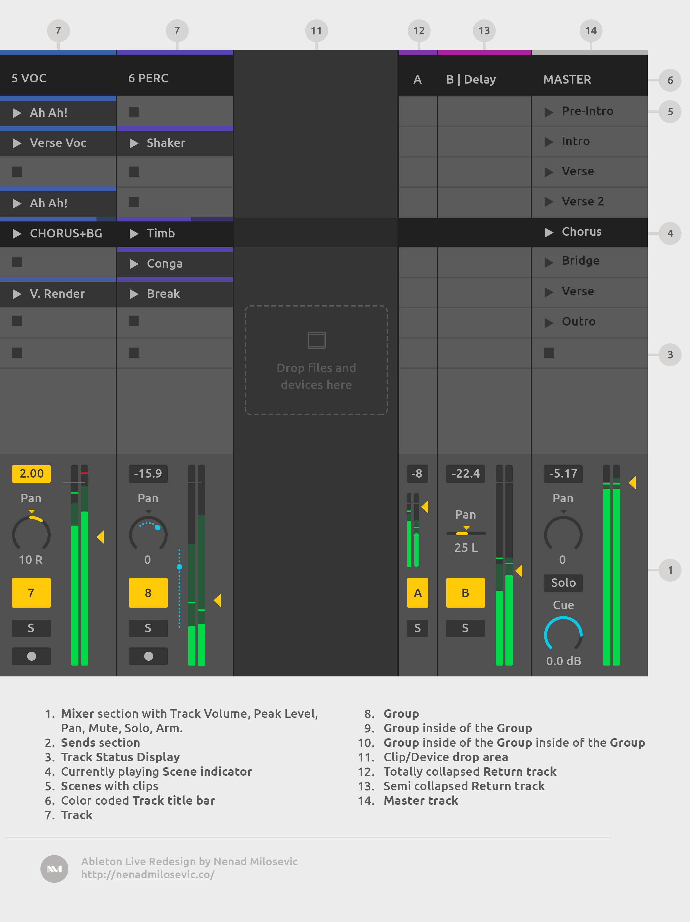 Simplified Session View with Mixer.